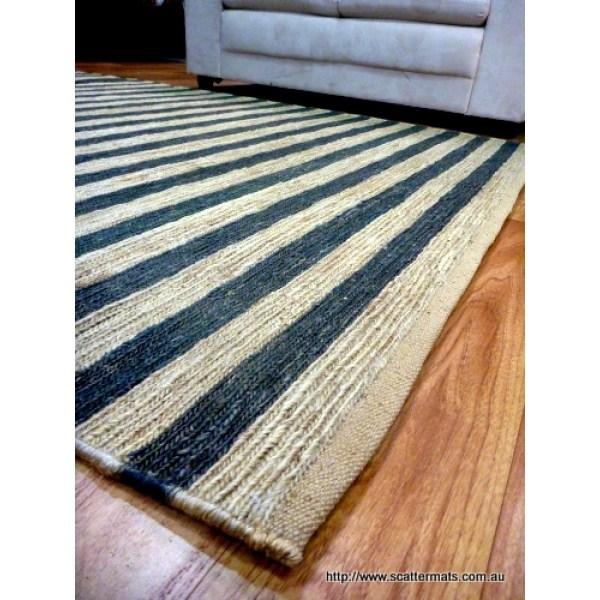 Black and White Striped Runner Rug
