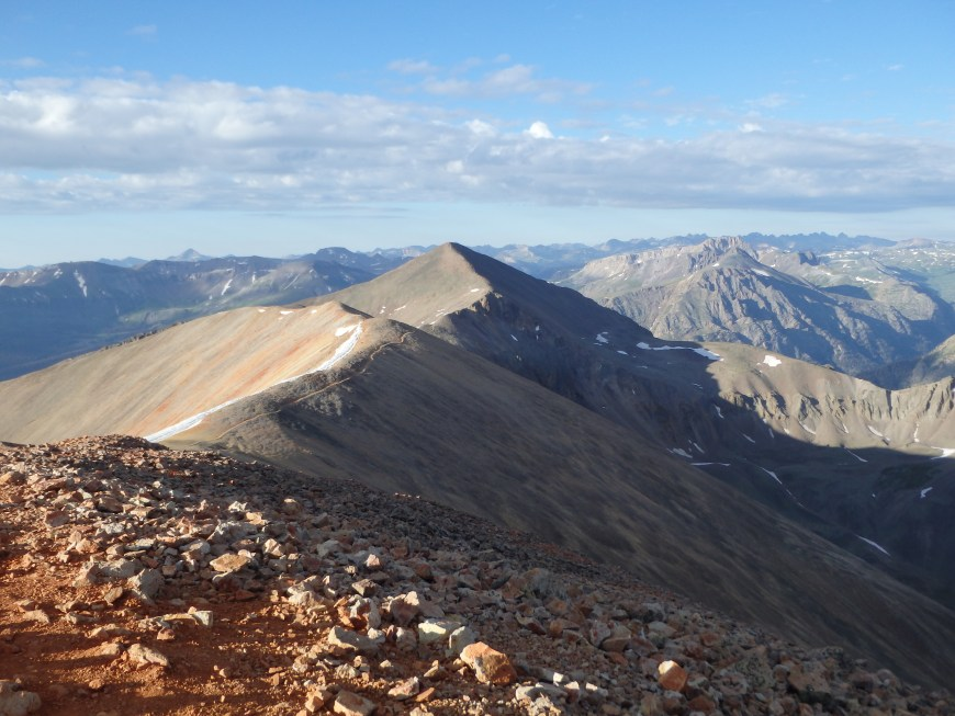 View south to Sunshine, the lowest 14er in CO.