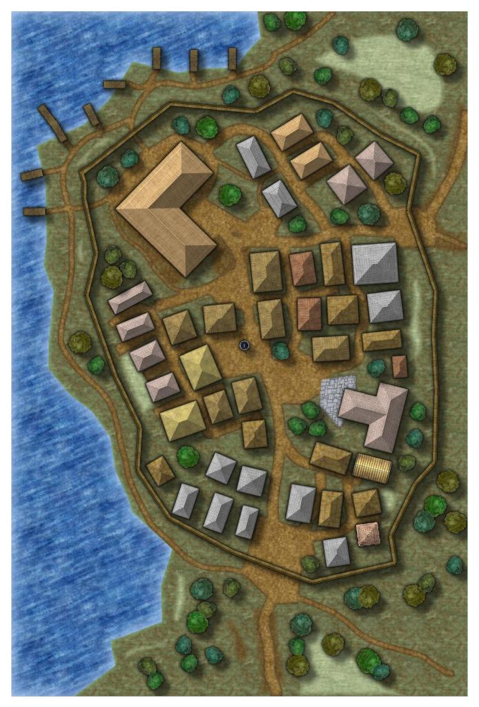 Small settlement maps created with Campaign Cartographer suitable for murky adventures in desolate towns.