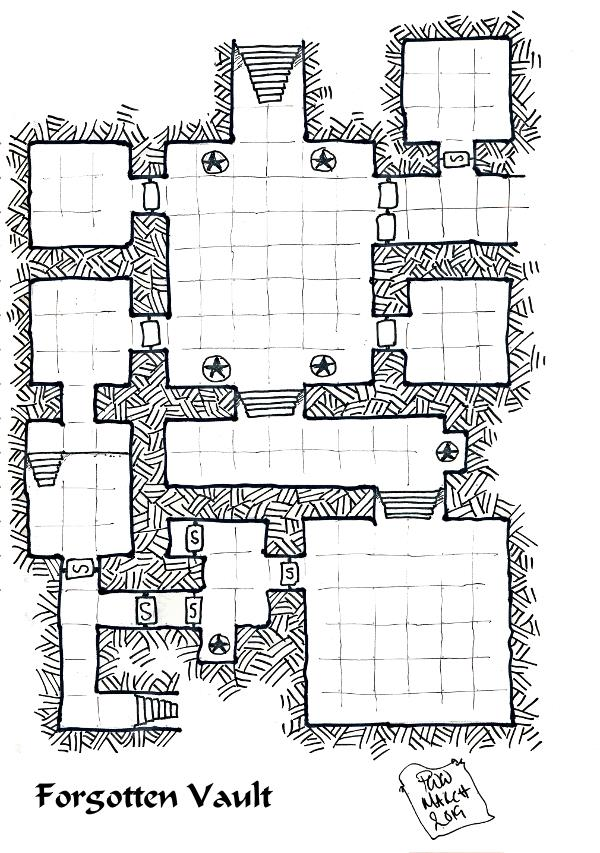 The Forgotten Vault is a dungeon located below the sewer of a fantasy city. The dungeon is setting and system neutral, and are easily adaptable.