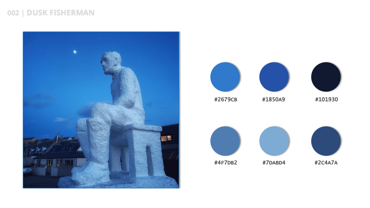 Dusk Fisherman is the title of this blue color palette.