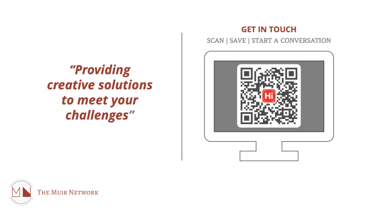 Scan the QR code with your mobile device to save contact details. Also contains a 'Calendly' calendar.