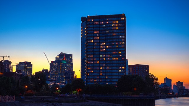 The sun rising on downtown multifamily