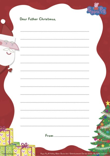 Dear Santa Christmas Wish List Template