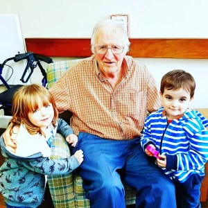 Great grandad with Arthur and Moose