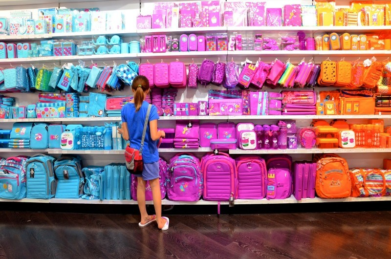 Girl browsing Stationery at Smiggle