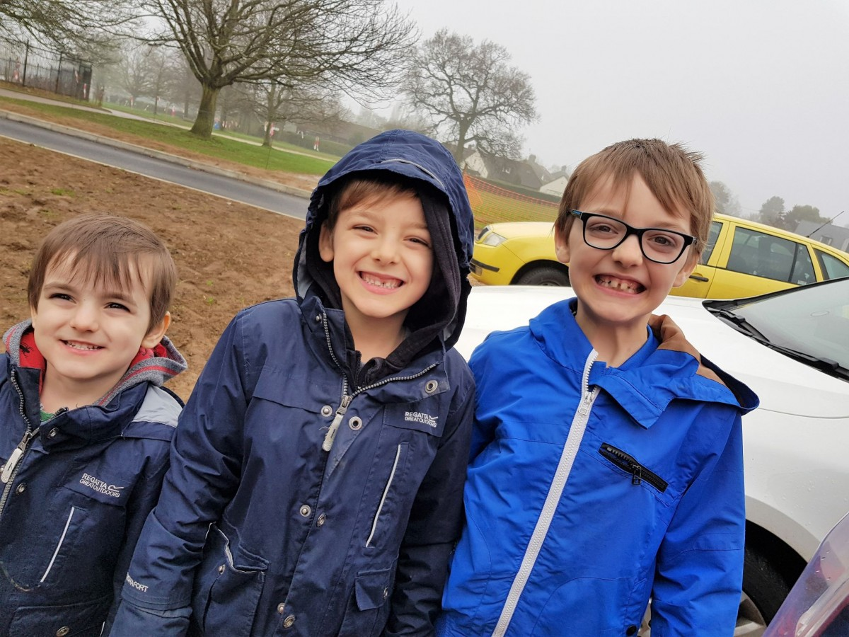 Jack, Oliver and Arthur before we entered Wicksteed Park