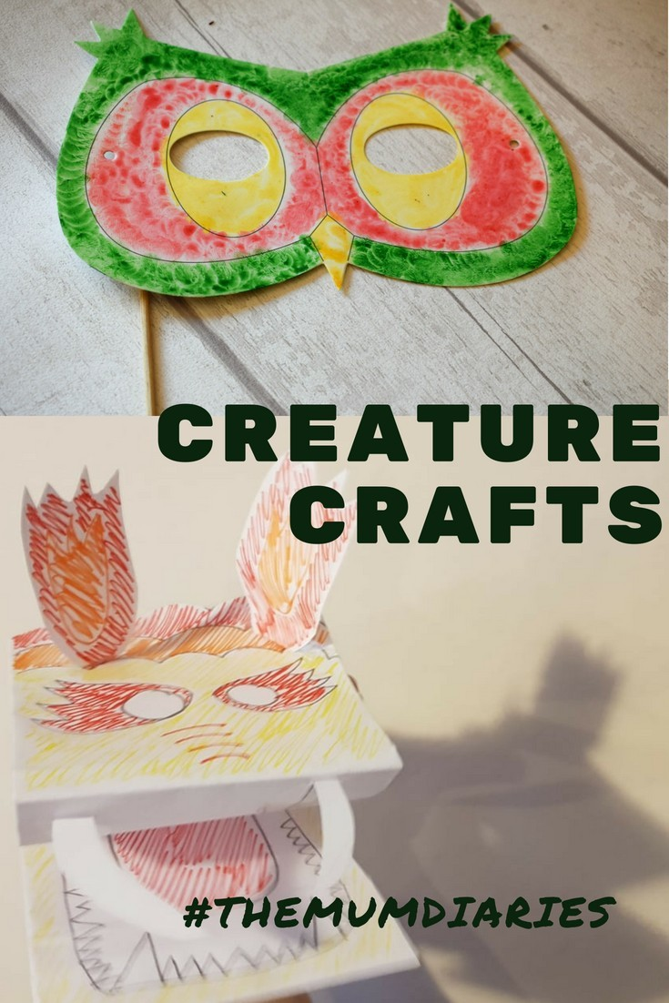 Quick, Easy creature crafts - Make an Owl Mask and Dragon Hand Puppet!