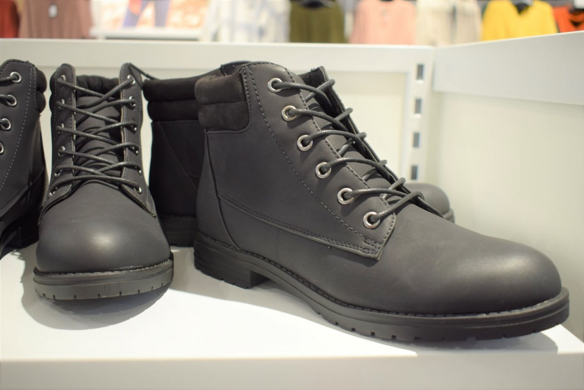 Military style boots in New Look, Queensgate Shopping Centre