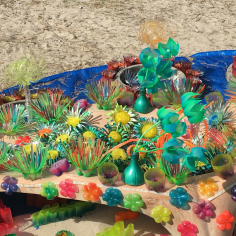 This inspired the kids to create their own recyclables coral reef over the holidays