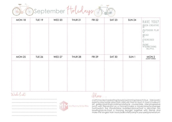 September Holidays 2017