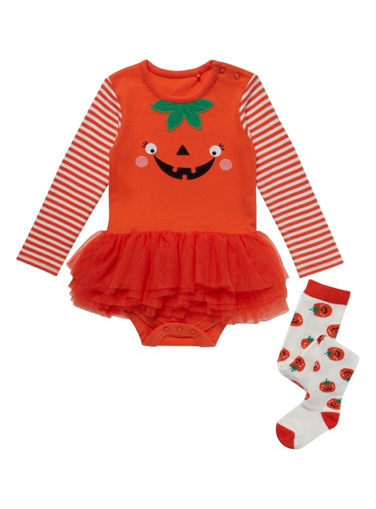 Halloween pumpkin costume with matching tights