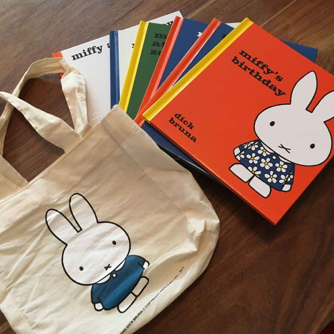 Miffy books and book bag
