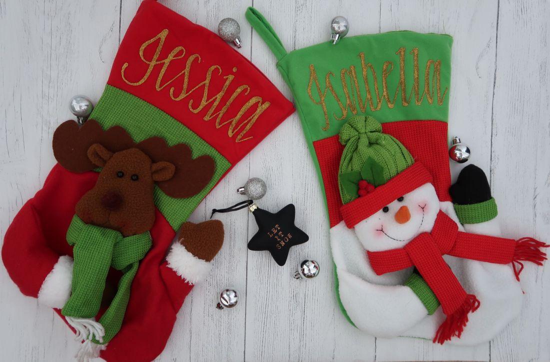 Snowman and reindeer 3D personalised stockings