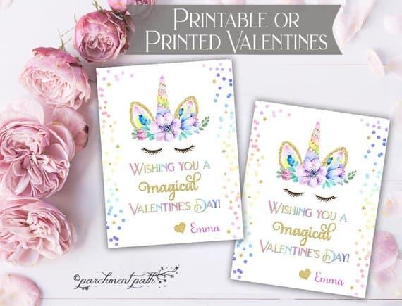 unicorn valentines card
