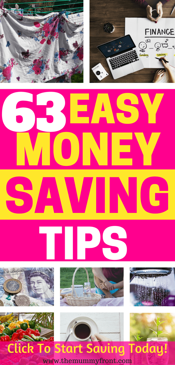 63 Easy Money Saving Tips #debt #savingtips #savemoney #savings #debtfree