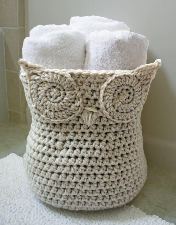 Crochet Pattern-- The Original Owl Basket --Crochet Pattern #crochet #storage #organisation #organization