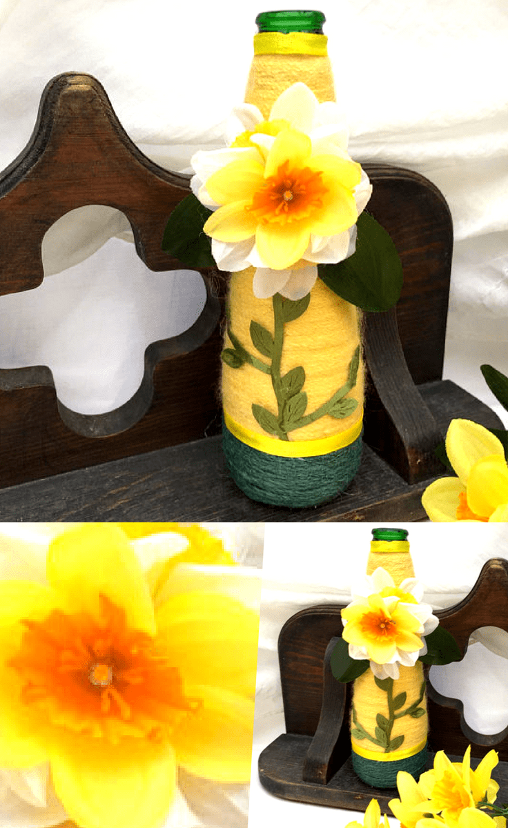 Stunning Farmhouse Recycled Wrapped Bottle #floral #bottle #homedecor #decor #home #farmhouse #farmhousehomedecor #homedecorideas #farmhousedecorideas #farmhousedecor #handmade #decorideas #rustic #rustichomedecor