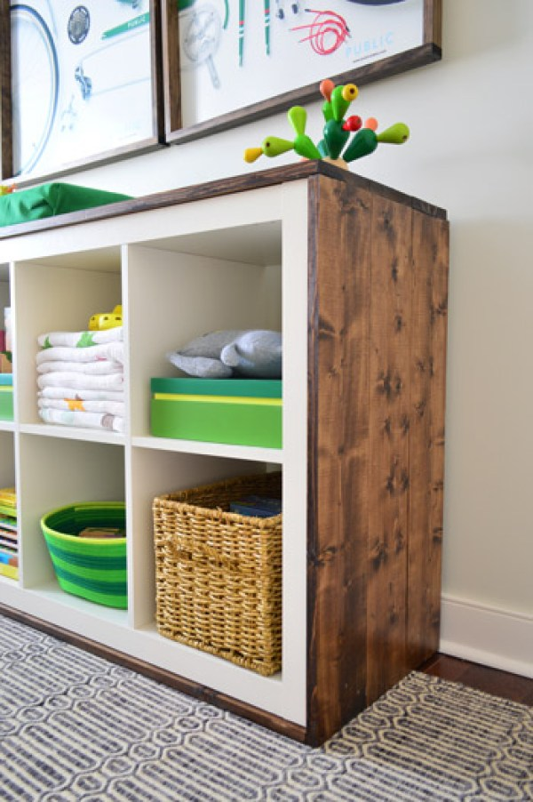 Ikea Kallax wood wrapped changing table & baby storage