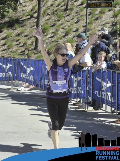 Never Too Old To Run - Sue Running the marathon