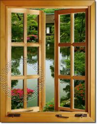 Japanese Garden Window 1-Piece Peel & Stick Wall Mural