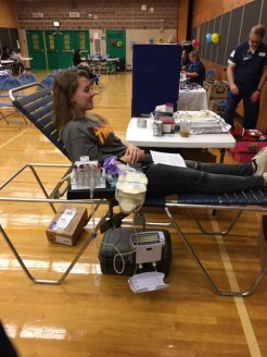 Wiktoria Rychlicka getting ready to have her blood taken.