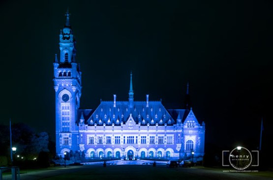 The Peace Palace (International Court of Justice) on UN day 23 October 2015, The Hague, Netherlands