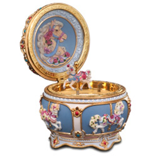 Musical Carousel Trinket Box opened