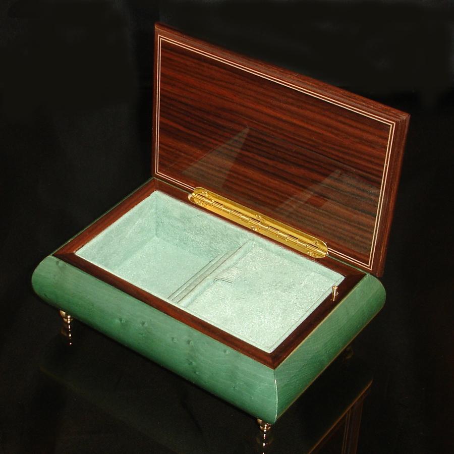 Italian Inlaid musical jewelry box Emerald Green 04 CVM -AS