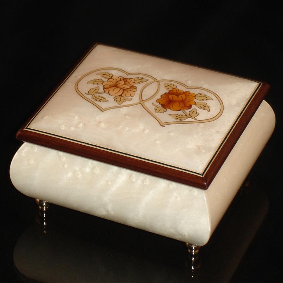 Italian Jewelry Box Double Heart White 17CC