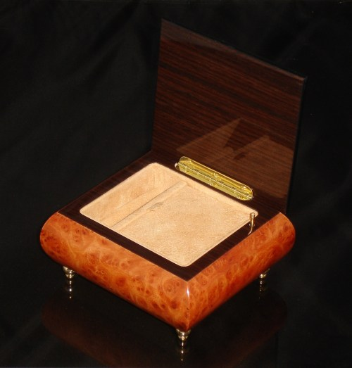 17CO Burl Elm Italian Jewelry Box Opened