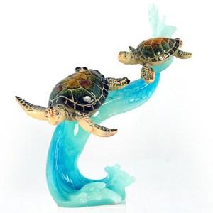 2 Sea Turtles Swimming on Wave figurine