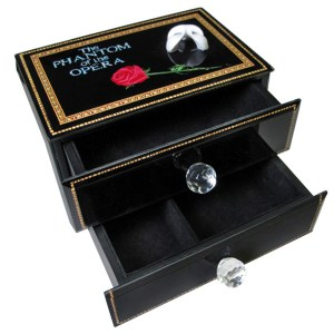 Phantom 2 Drawer Musical Jewelry Box open view