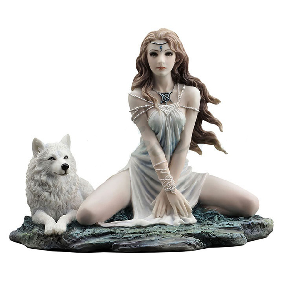Call of the Wild figurine Woman and white wolf