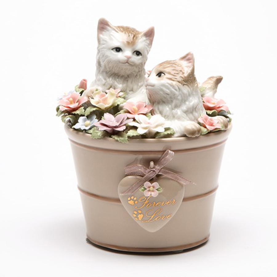 Porcelain Cats in Flower Pot