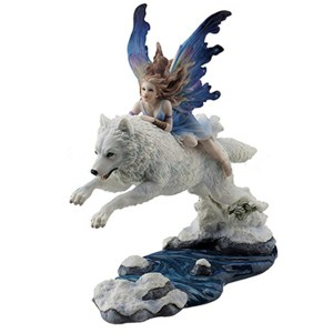 Leaf of Faith Fairy riding White Wolf