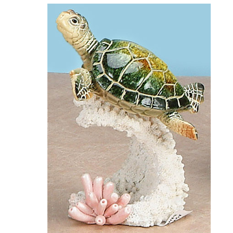 Green Sea Turtle on Coral figurine