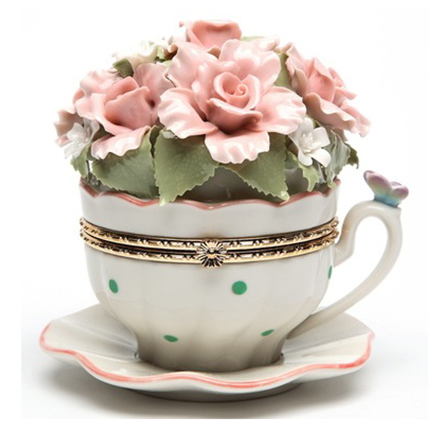 Porcelain Musical Hinged Teacup Flowers