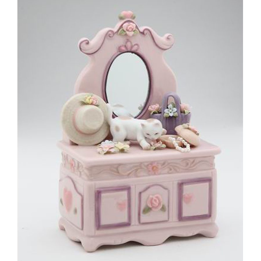 Porcelain musical Cat on Dresser