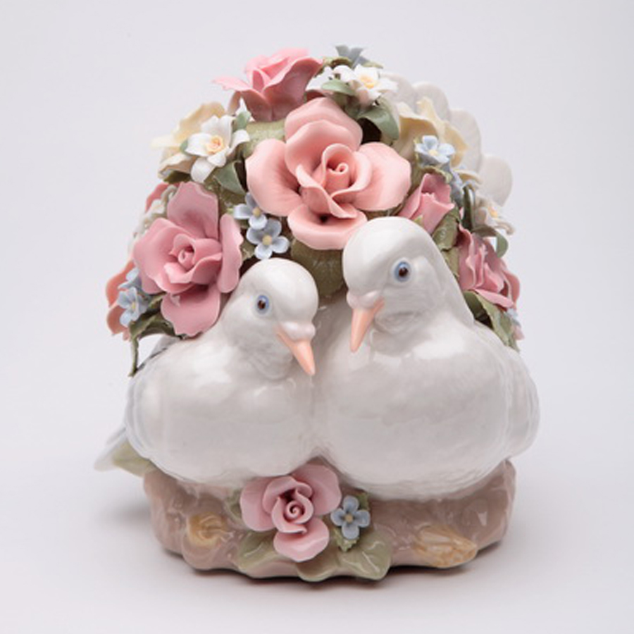 Porcelain Musical Love Birds with flowers