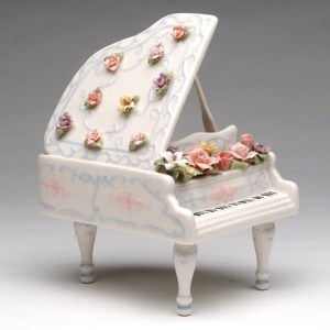 Porcelain Musical Piano and Flowers