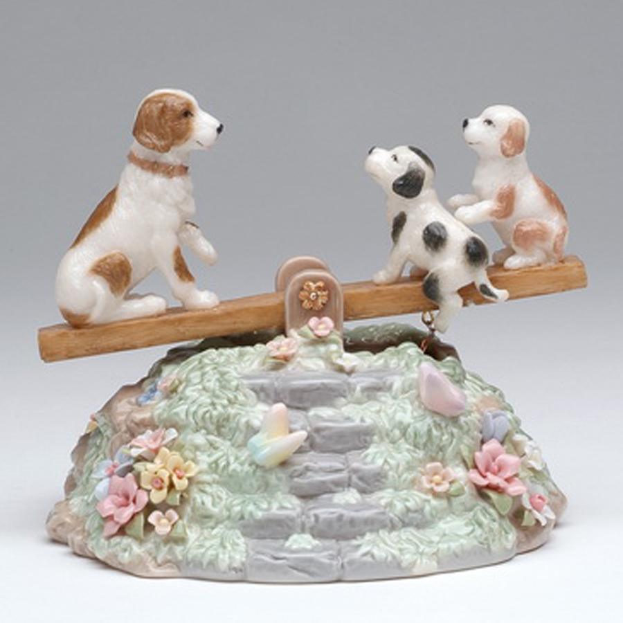 Porcelain musical Puppies on Sea Saw