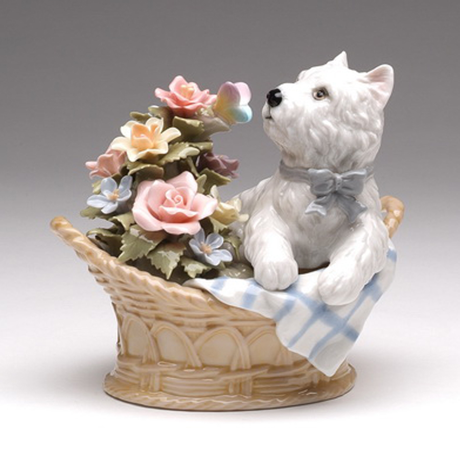 Porcelain White Terrier in basket with flowers