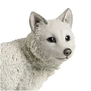 White Wolf Cub Figurine close up