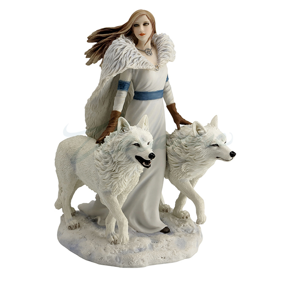 Winter Guardians figurine woman with 2 wolves