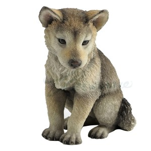 Wolf Pup sitting figurine front view