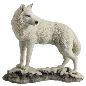 White wolf looking back figurine