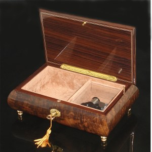 Italian Inlaid Musical Jewelry Box 02CF Walnut opened no cover