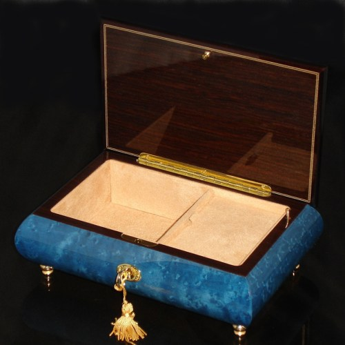 Italian Inlaid Musical Jewelry Box 02CF Dark Blue opened