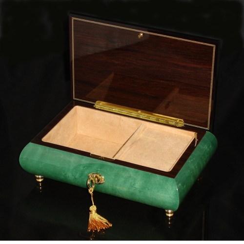 Italian Inlaid Musical Jewelry Box 02CF Green opened
